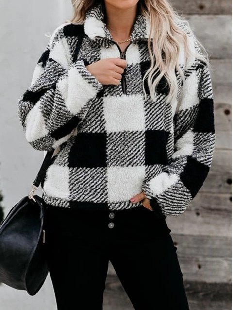 Plaid Half Zip Drop Shoulder Fluffy Sweatshirt
