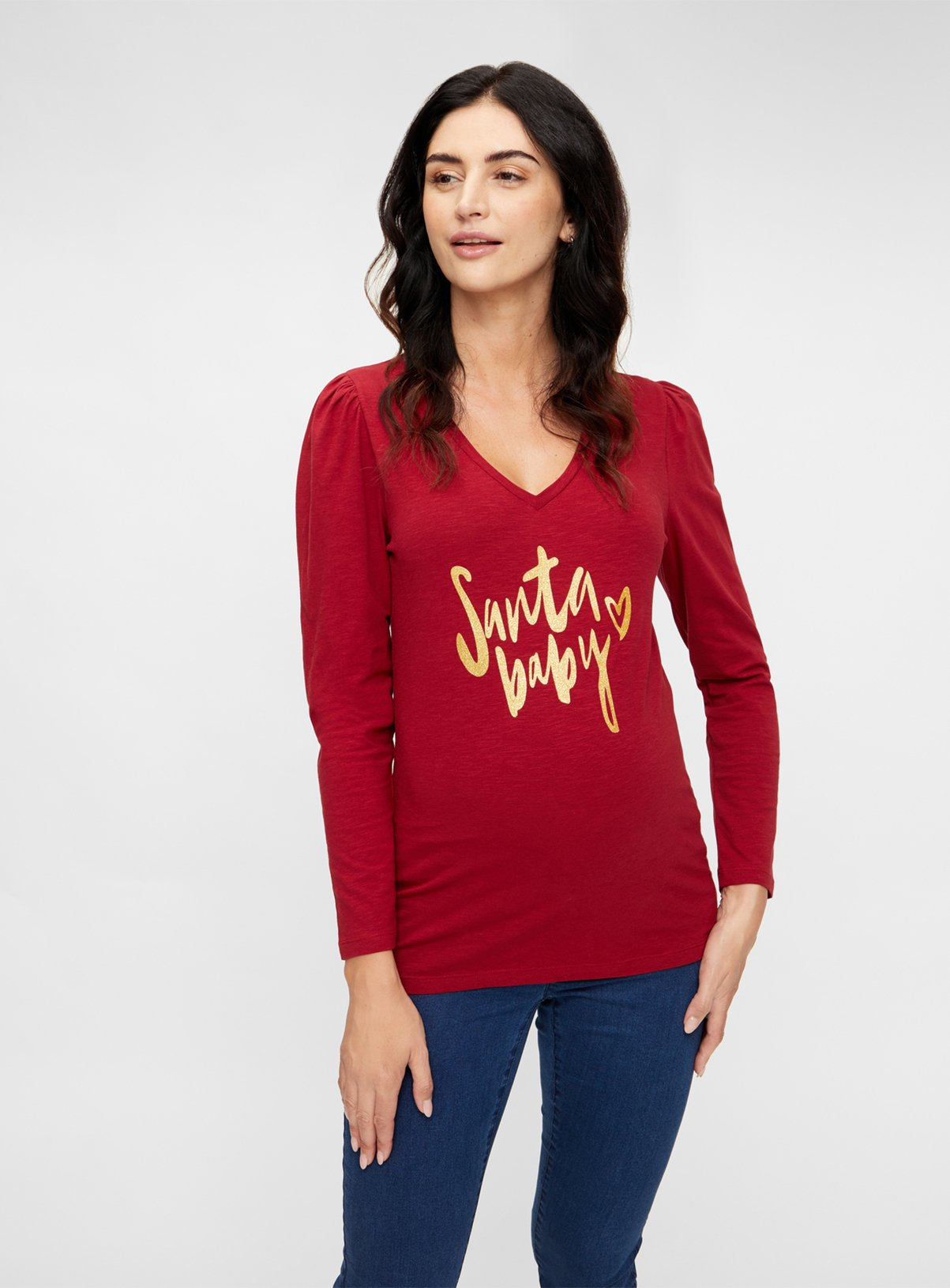 Christmas Red Long Sleeved Jersey Top – 10tuc138589057