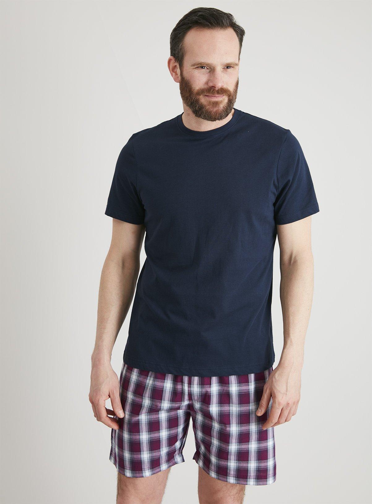 Navy & Purple Check Shortie Pyjamas – XXLtuc136826098