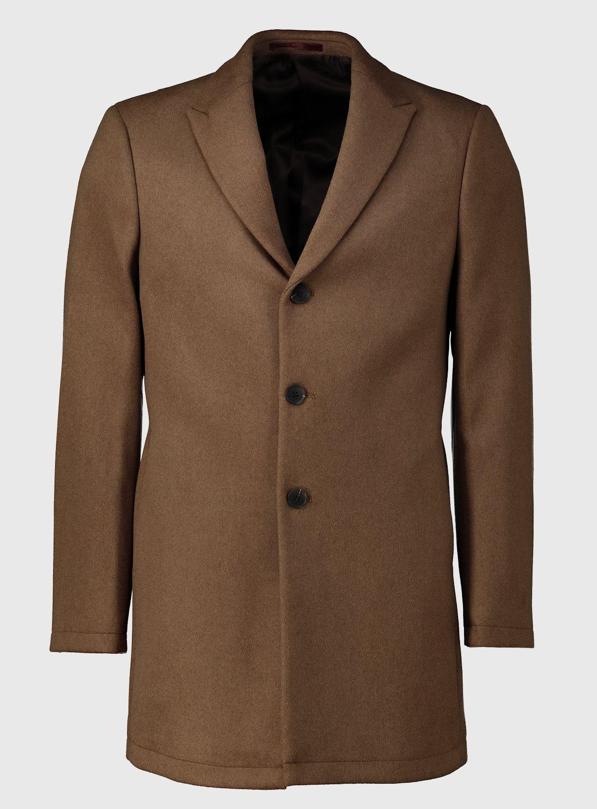 Camel Wool Blend Slim Fit Overcoat – XXXLtuc138044330