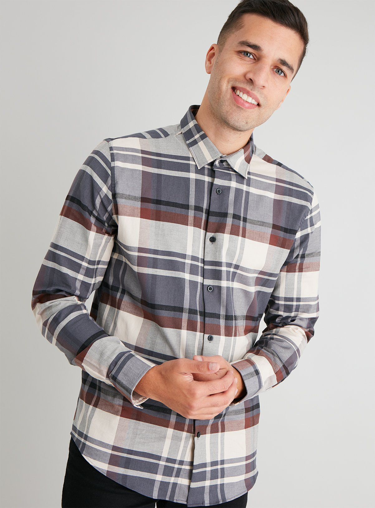 Charcoal Check Regular Fit Shirt With Stretch – Ltuc137349174