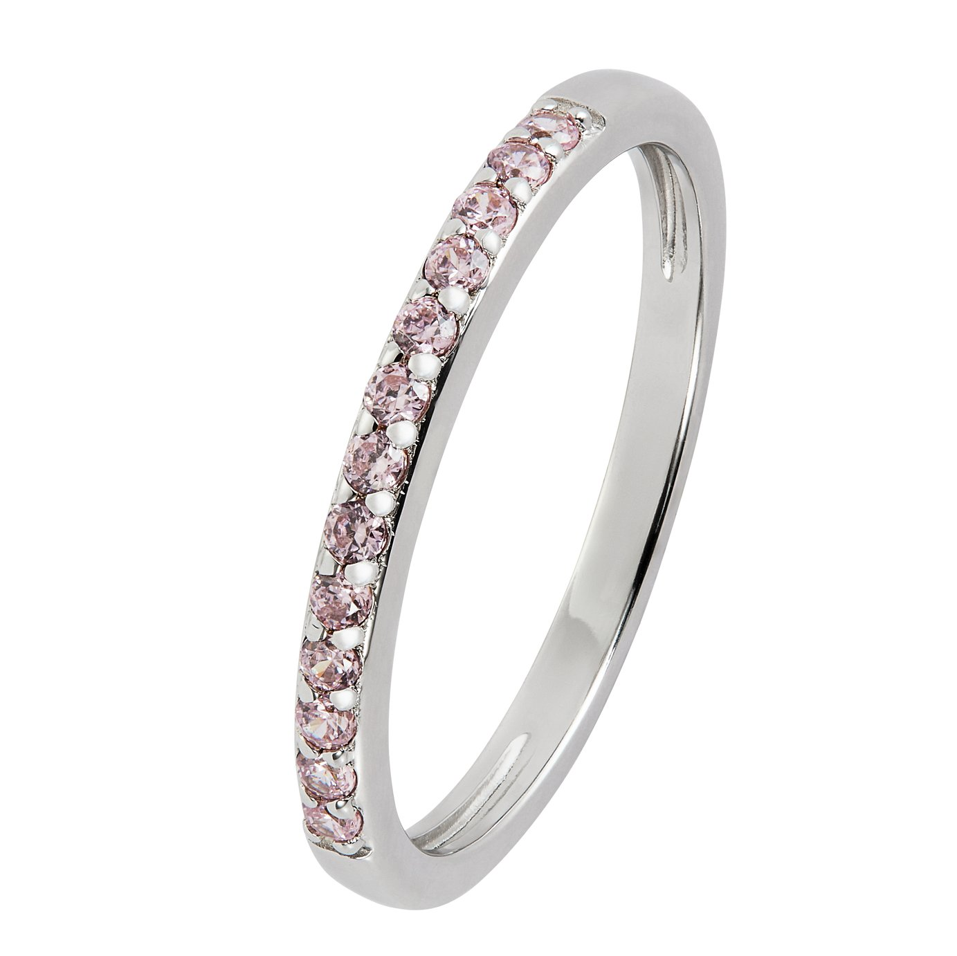Revere Sterling Silver Pink Cubic Zirconia Stack Ring – N502/5970