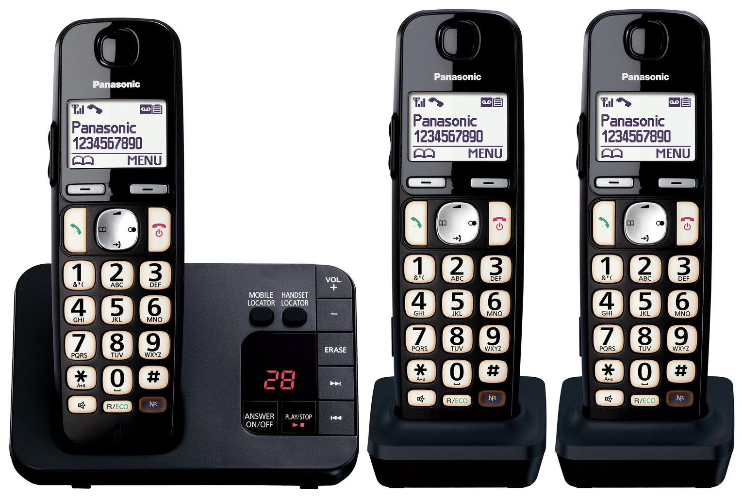 Panasonic KX-TGE723EB Easy Use Cordless Telephone – Triple922/0795